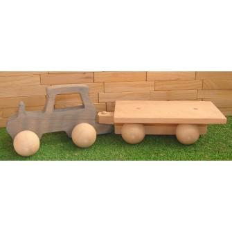 Le Tracteur en bois avec sa remorque - unmondedebois.fr