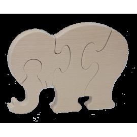 Puzzle Eléphant en bois brut